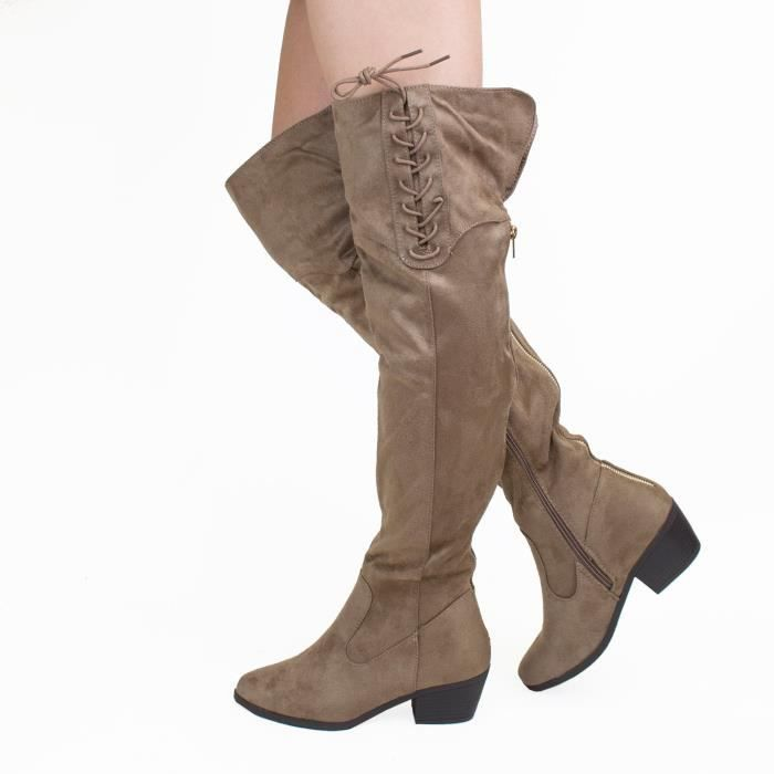 Womens Knee-high Fashion Sexy Comfort Over The Knee Pointy Toe Chunky Mid Heel Boots YOFQH Taille-41