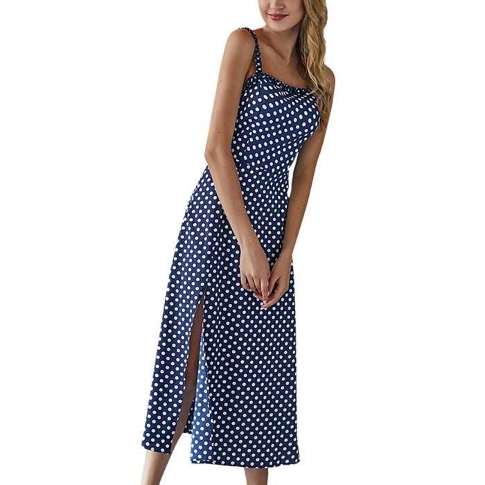 Été Les Dot Imprimer Mesdames Camisole Femmes Bleu Boho Robe Manches Longue mNwn80