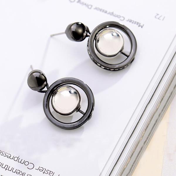 Glamorousky boucles d'oreilles rondes tempérament avec du blanc zircon cubique (23768)