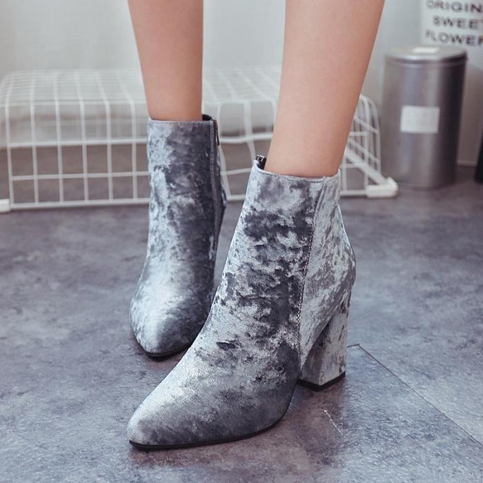 chaussures talons minces femme bottines à lacets de troupeau pour les femmes printemps automne sexy bottes dame femme grande taille