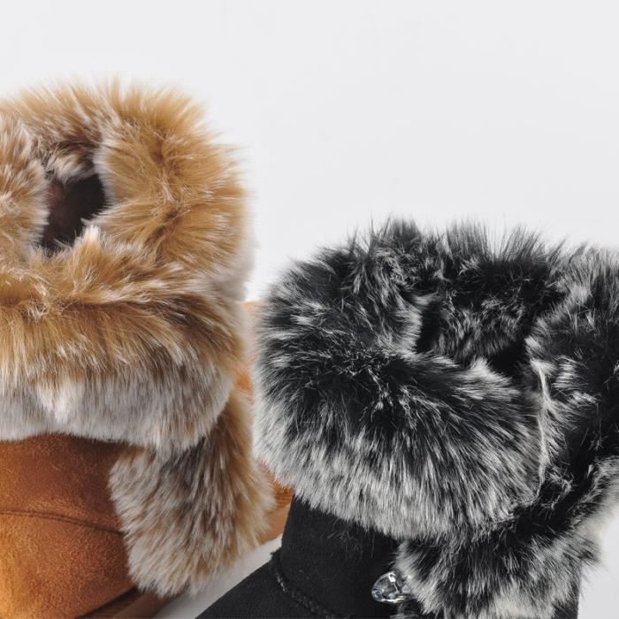 Hiver femmes en cuir véritable cheville Bottes chaud Thickend moutons fourrure en peluche neige Bottes femmes Chaussures Taille erT93WWAHb