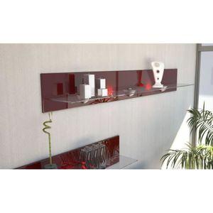ETAGÈRE MURALE Etagère design en bois et verre  bordeaux avec led