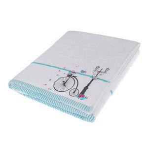 serviette de bain motif fleur achat vente serviette de bain motif fleur pas cher soldes. Black Bedroom Furniture Sets. Home Design Ideas