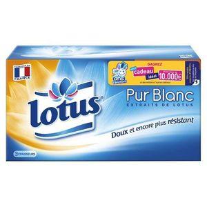 MOUCHOIR EN PAPIER LOTUS Mouchoirs - Pur Blancs - Boîte de 90 Mouchoi