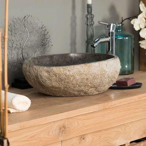 LAVABO - VASQUE Vasque à poser en pierre naturelle galet de riv...