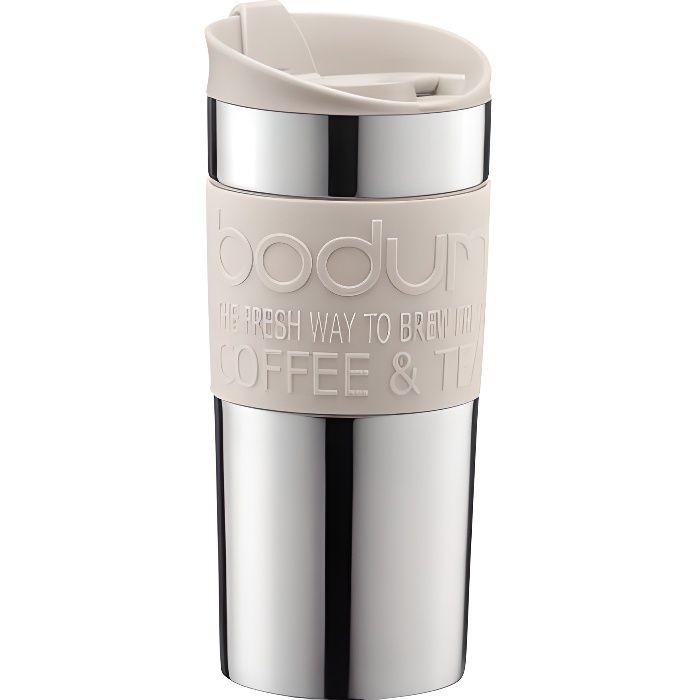 BODUM - TRAVEL MUG - Mug de voyage isotherme en inox double paroi - Blanc crème - couvercle à clapet - 0.35 L