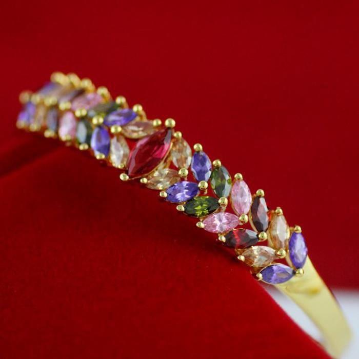 luxe coloré Bracelet en cristal CZ femmes Plaqué or 18 carats noble de haute qualité bracelet ouvrable bracelet jewerly cadeau