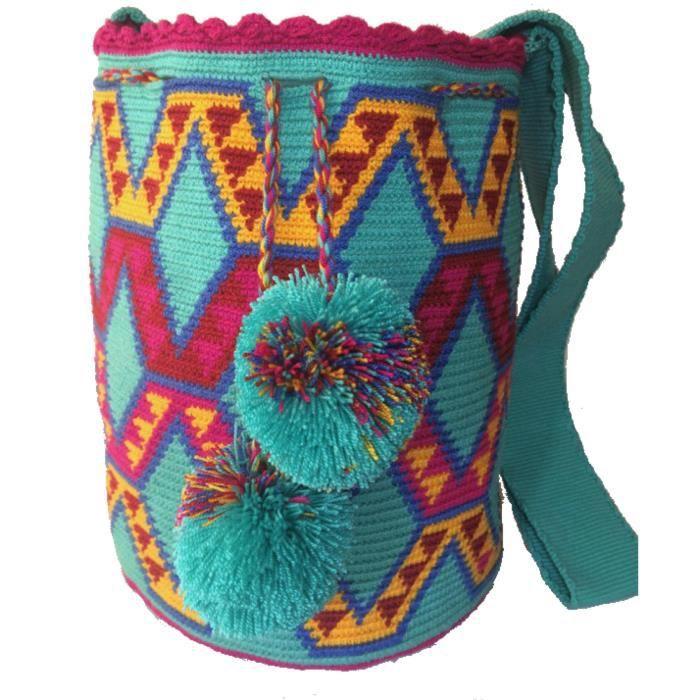 Mochila Wayuu ethnique 100% Sac à bandoulière tissé à la main multicolore W2I0W