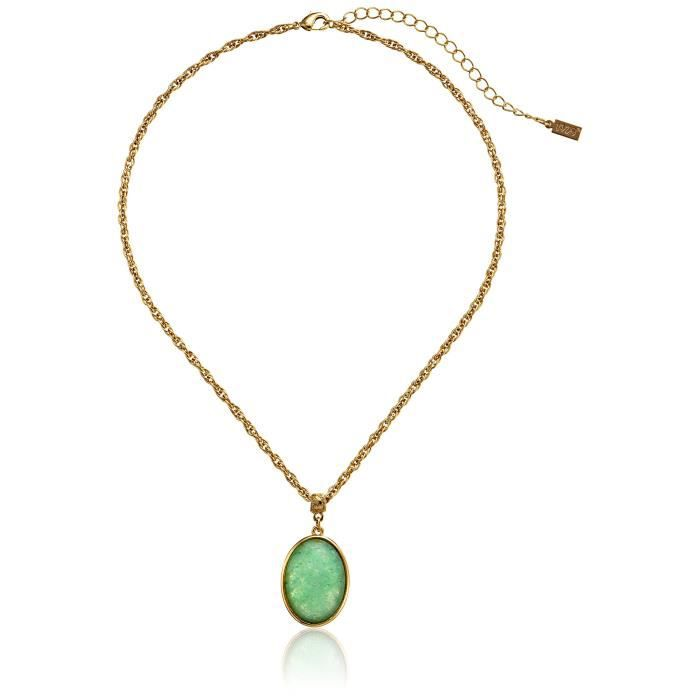1928 Jewelry Semi-precious Collection 14k Gold Dipped Oval Pendant Necklace, 16 WU1CZ