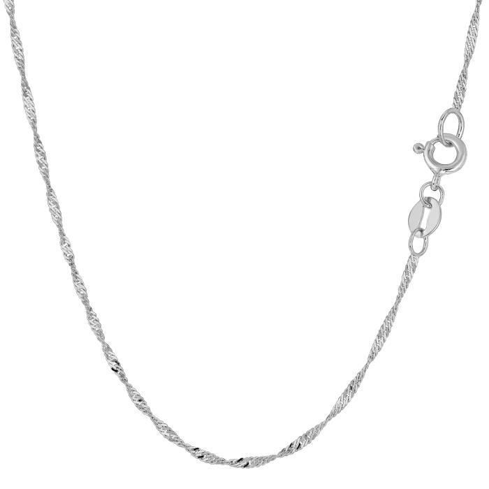 Collier- 14k or blanc Singapour, 1,5 mm, 18