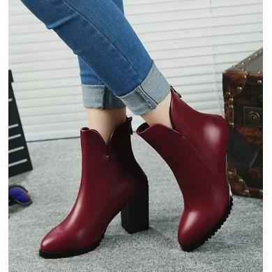 De nouvelles bottes en cuir avec des femmes en bottes épaisses avec Martin bottes, rouge 36