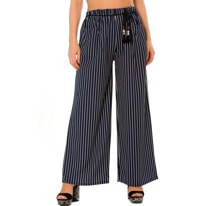 Dmarkevous - Pantalon patte d éph femme bleu marine rayé avec poches ... d399d8f9e32