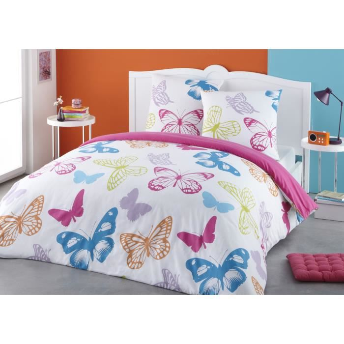 Housse de couette papillon achat vente housse de couette papillon pas cher cdiscount - Housse couette flanelle 220x240 ...