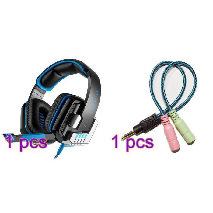 Kotion G8000 3.5mm Gaming Casques Avec Microphone Lumières Basse Stéréo Pour Pc Gamer Audio Adaptateur Câble(cadeau)