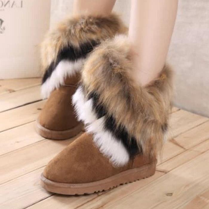 8.5-l'hiver chaud lapin longues bottes pour la neige artificielle haut cuir tassel fourrure renard des chaussures de femmes.