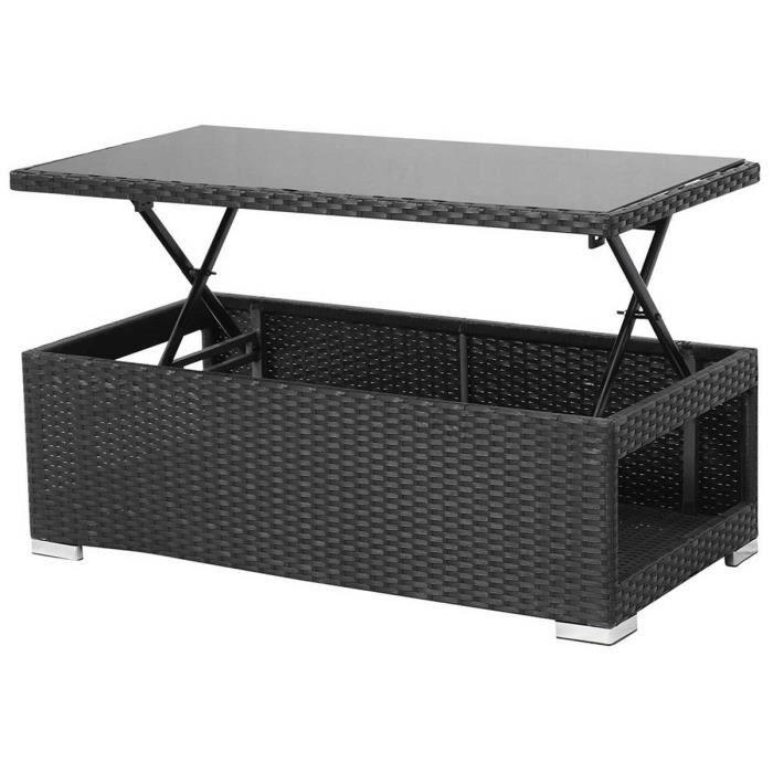 meilleur service 577c9 685d2 Table relevable résine tressée Ibiza -