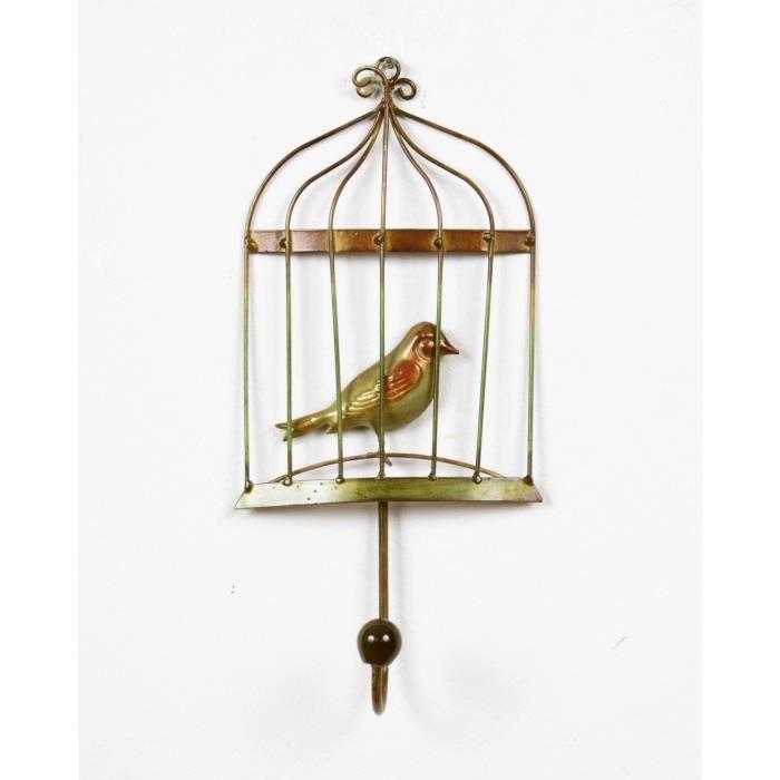 PATÈRE Patère Cage A Oiseaux - Métal - L 14,60 x P 6,98 x