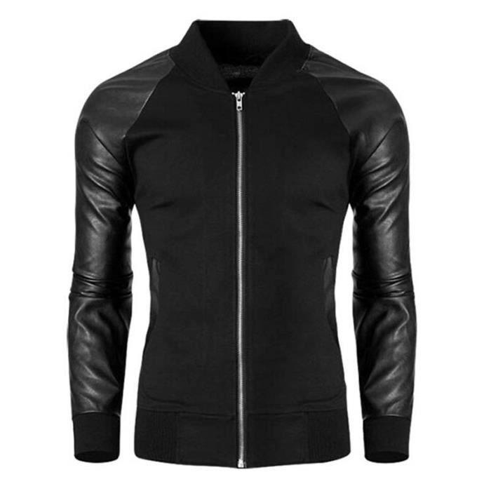 bomber veste homme noir pu cuir zipper manches noir achat vente veste cdiscount. Black Bedroom Furniture Sets. Home Design Ideas