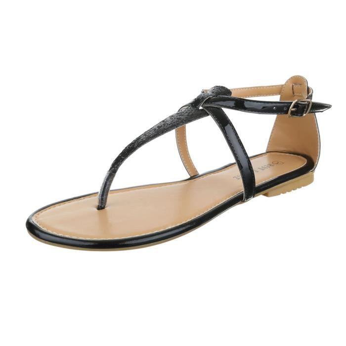 Femme Noir Plage De L'orteil D't Chaussures Chaussure Sandale Sparer qVMSUzp