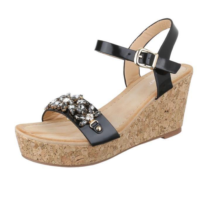 femme sandalette chaussure semelle compensée Wedges Plateau noir sXiEnAat