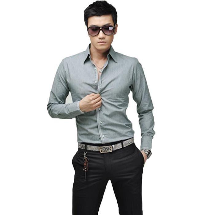 Slim chemise mode sport élégant Fit coréen homme ft0wRqxRa