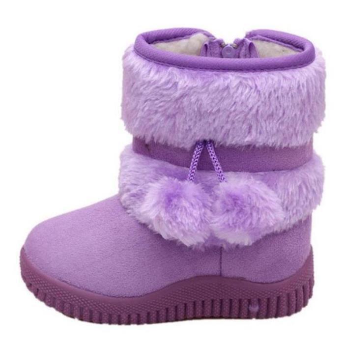 Hiver Bottes Enfants En Peluche Chaussures Filles Garçon Bottines GD-XZ095Violet32