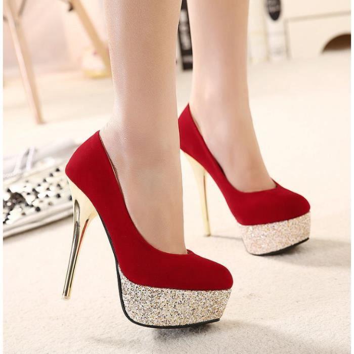 OLALI® Femmes Pompes Bling Sexy Mince haute Partie de Talon Chaussures Chaussures