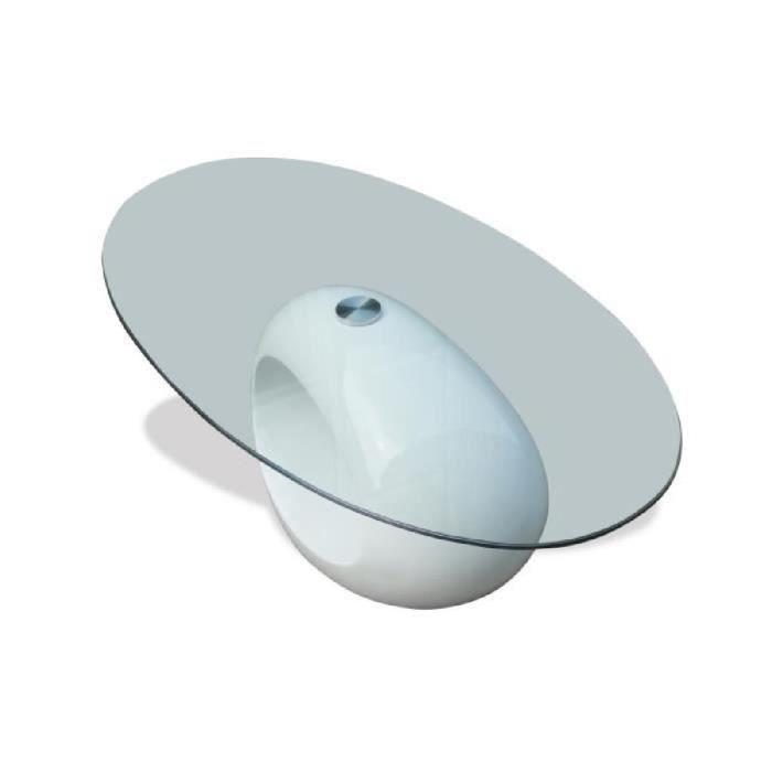 Table Basse De Salon Maison Intérieur En Verre Avec Pied Blanc