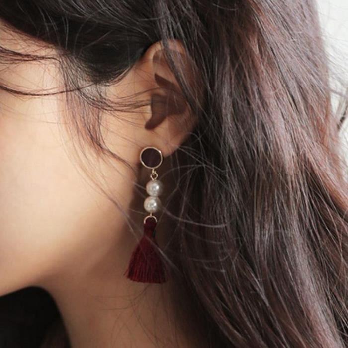 Bijoux mode 2018117 boucle doreille perles de chaîne peau rétro tête oreille sui longue noir