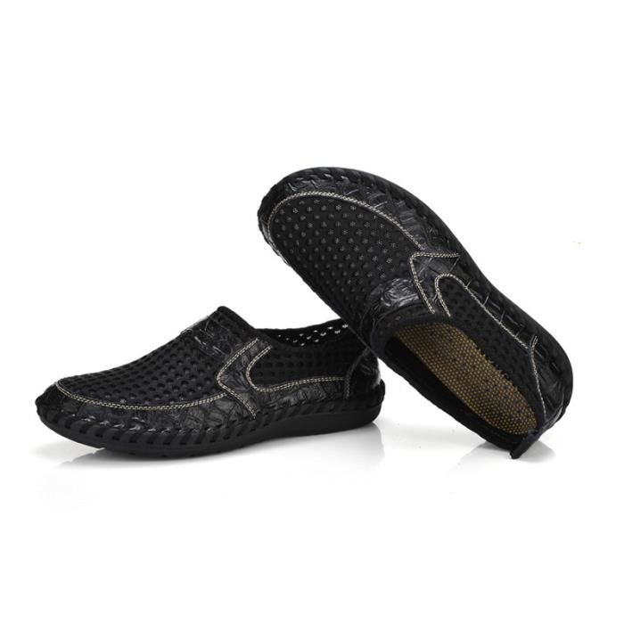 Comfortable BGD Printemps Chaussure XZ070Noir44 On Respirant Homme Été Chaussures Slip wfqwWHSpn8