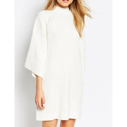 Wecheers®Femmes lâche Long manches en tricot Pull Mini-robe chandail Tricots longue sim