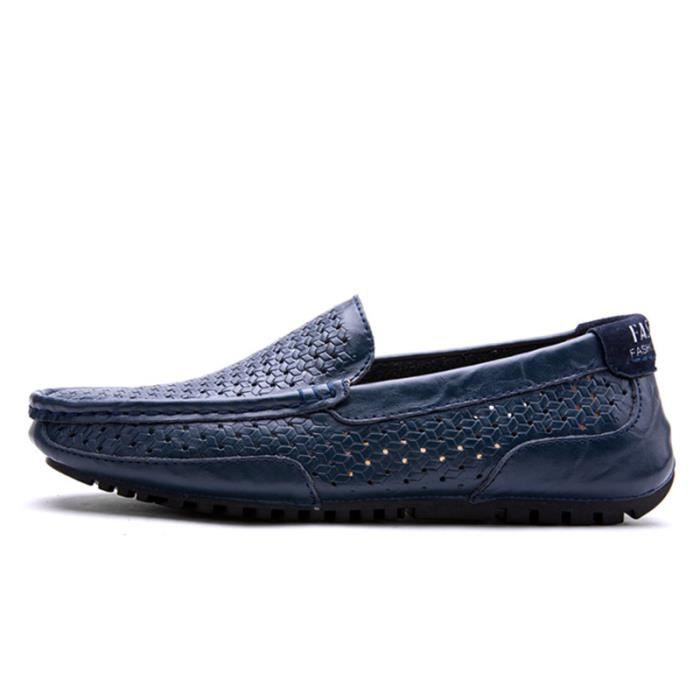 Mocassin Hommes Cuir Loafer Detente Casual Chaussure BDG-XZ089Bleu44 XYGqjAyhLl