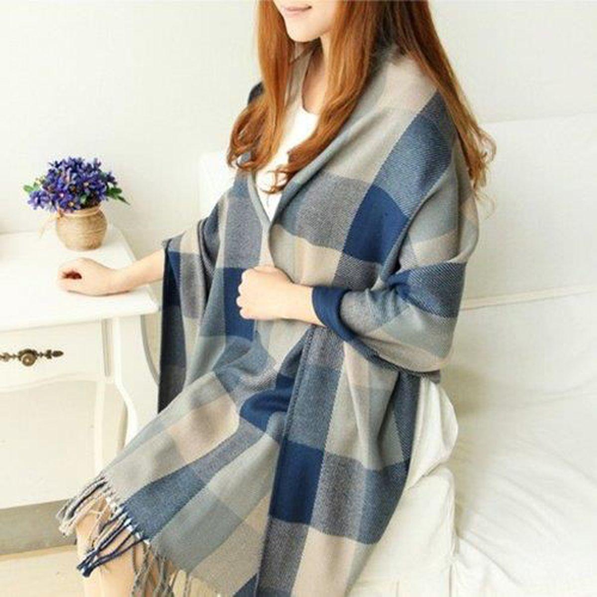 26e8ef5878e5 Echarpes Femme Grande Laine Châle Mode et Confortable Bleu Gris ...