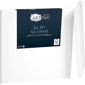 CHASSIS DE TOILE Artina Lot de 2 Toile à peindre 70x70cm 280g/m² Ak