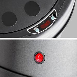 POUBELLE - CORBEILLE Grande Poubelle  50L Inox noir détecteur de mouvem