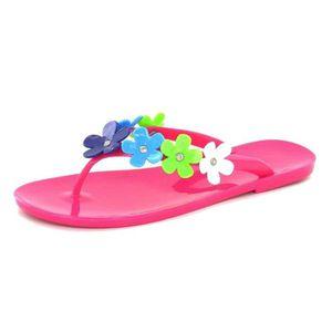 TONG Claquettes Tongs Design Fuschia Floral pour Femme
