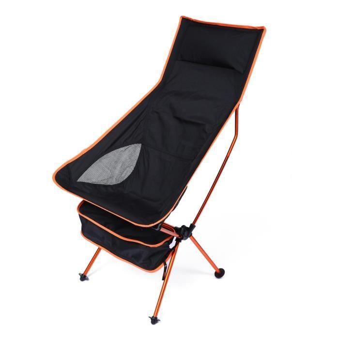 Fauteuil chaise de plage de camping pliant super léger ORANGE