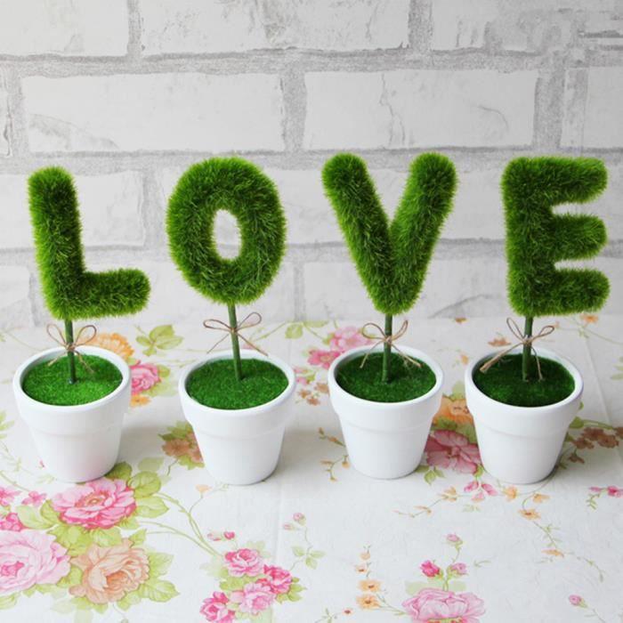 Nouveau 4 Pcs Amour Simulation Plante Pot Pot Fleur Artificielle