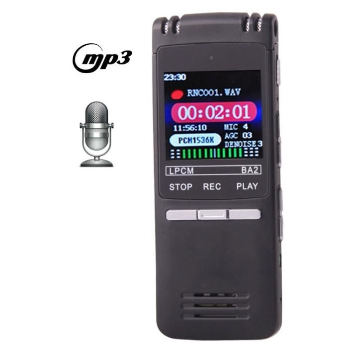 (#63) Professional 8gb Lcd Digital Voice Recorder With Vor Mp3 Player(black)