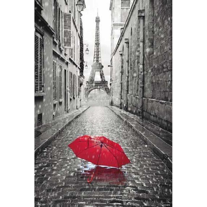 poster de paris tour eiffel et parapluie achat vente affiche poster cdiscount. Black Bedroom Furniture Sets. Home Design Ideas