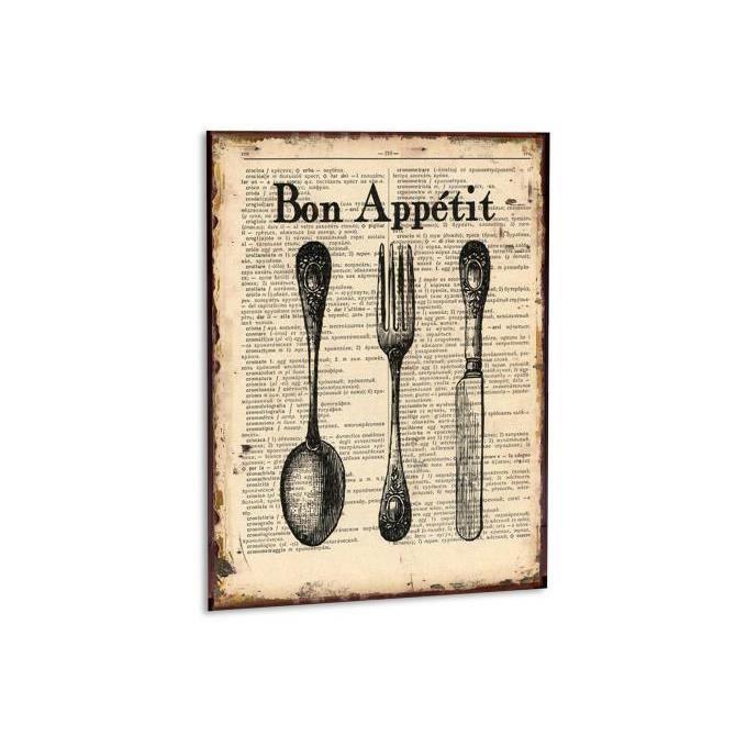 Cadre cuisine en m tal bon appetit achat vente tableau for Decoration cadre pour cuisine