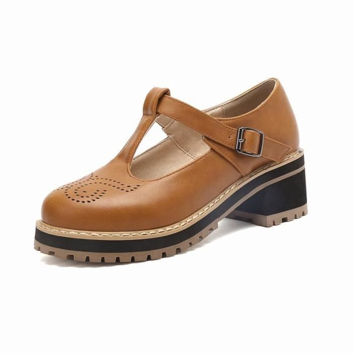 Chaussures Femme élégante En PU Cuir Plateforme Ronde Toutes les pointures de la 35 à la 43