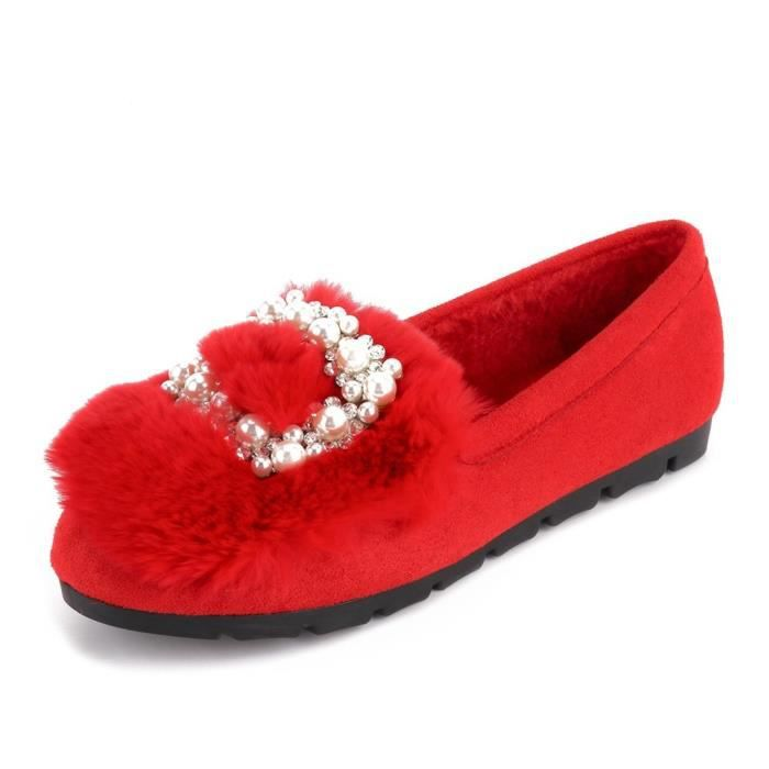 Warm Plush Rhinestone Ballet Flats Indoor Outdoor House Slippers Slip On Shoes WFE5L Taille-36 1-2