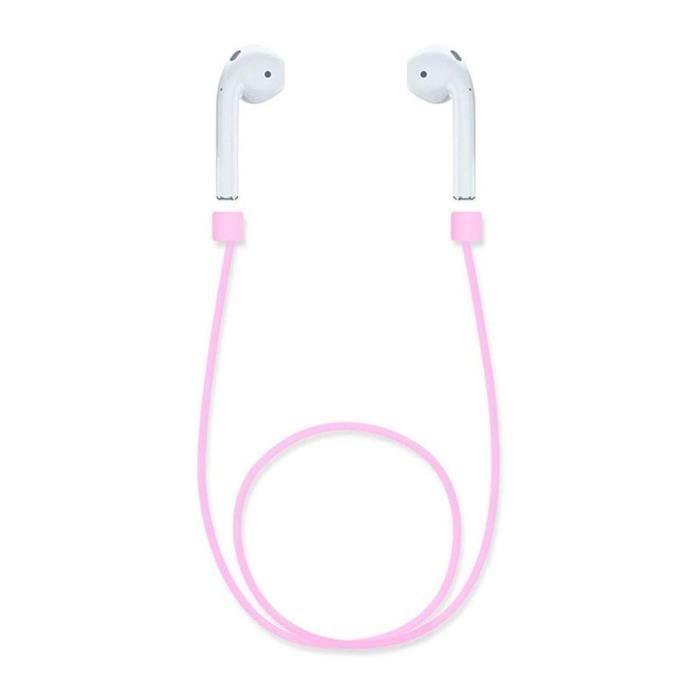 Shop-story - Sangle Magnétique Aimanté Anti-perte Pour Écouteurs Sans-fil Apple Airpods Tws I7s Couleur Rose