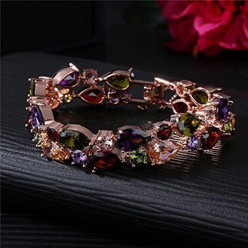 Womens 18k Rose Glod Plated Aaa Cubic Zirconia Bracelet Multicolor Crystal Oval Tennis Bracelet Fo U0OER