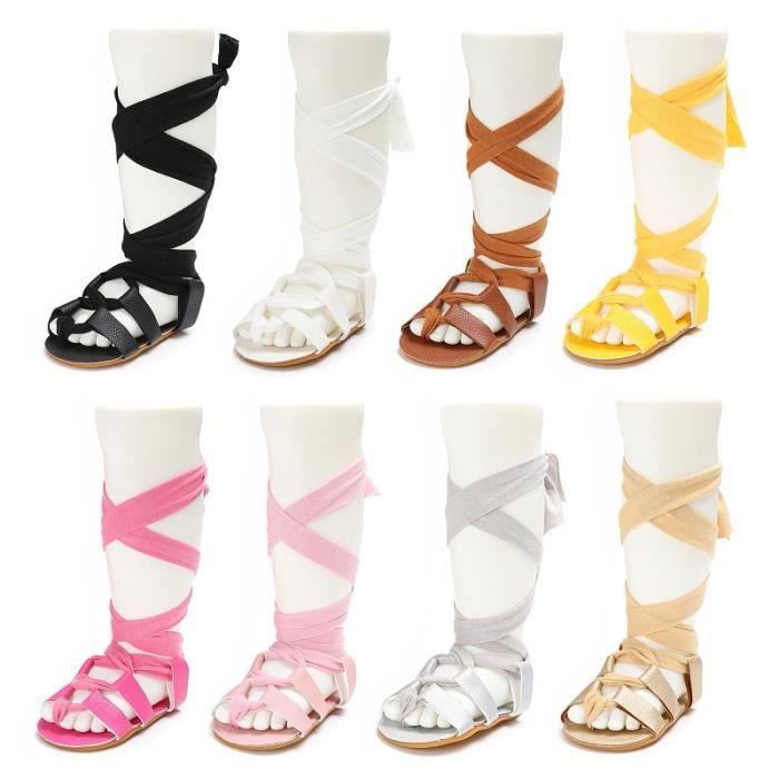 Enfant nouveau-né bébé en cuir Ba noir 6-12mnoir 6-12m ndage Sandales d'été Pram souple Chaussures plates KbHexO1mA