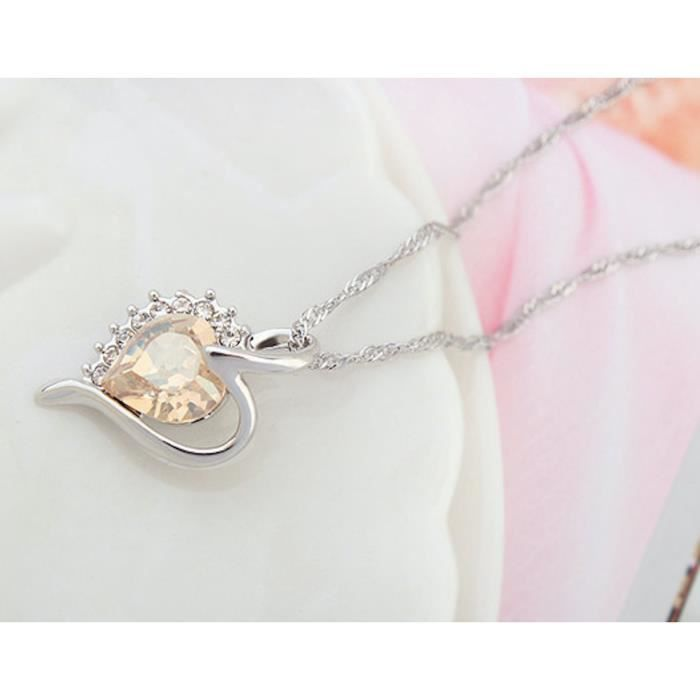 Womens Swarovski Crystal & Aaaa Cubic Zircon Love-heart-valentine Pendant Necklace. Daily-party We VUX9B