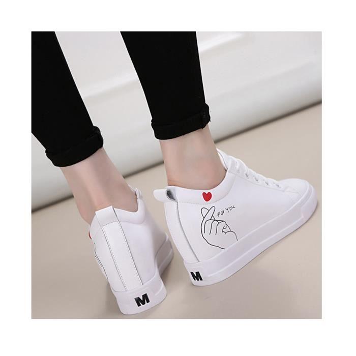 Blanc Chaussure noir Lacet 7 Baskets Tennis Femme Cm Talon Compens Sneaker 80wnkOPX