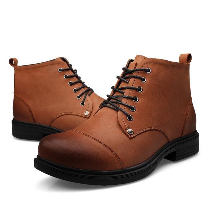 Enllerviid Homme Cheville Résistance à l'usure Cuir Mode Ankle Boot