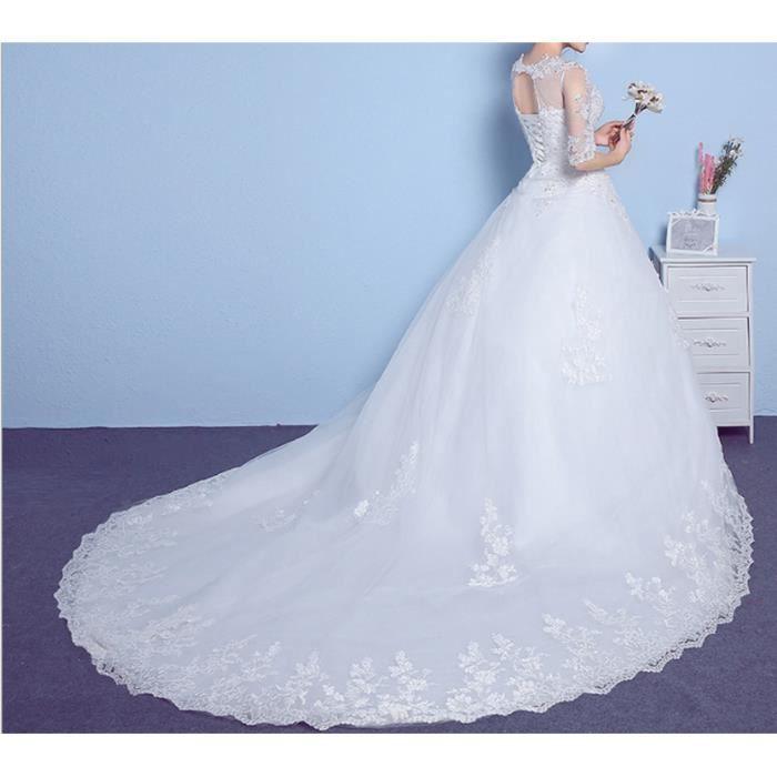 Manches col rond queue 2017 nouveau plus la taille dentelle femmes enceintes robe de mariée